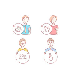 group women group and launch project icons swipe vector image