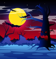 halloween night with scary tree on moon vector image