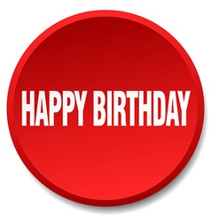 Happy birthday red round flat isolated push button vector