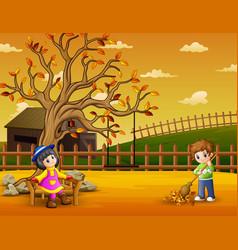 happy kids in garden vector image