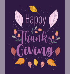 happy thanksgiving hand drawn text and autumn vector image