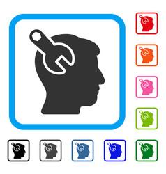 Head neurology wrench framed icon vector