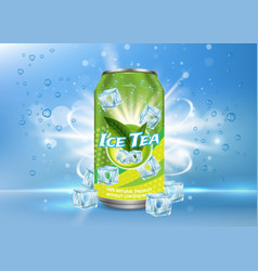 Ice tea poster banner design template vector