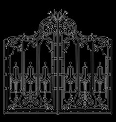 Iron ornamental gate vector