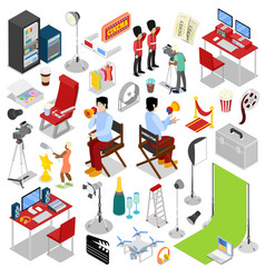 isometric cinema production making movie vector image
