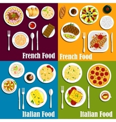 Italy and france cuisine dishes vector
