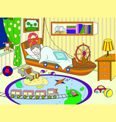 kids coloring on the theme of childhood room vector image