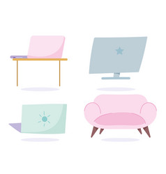 laptop computer desk and sofa decoration work vector image