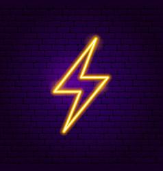 Lightning neon label vector