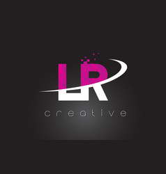 Lr l r creative letters design with white pink vector