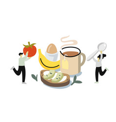 man and woman gathering breakfast tea and toast vector image