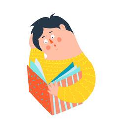 Man or boy student reading book icon design vector