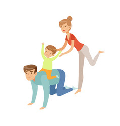 mom dad and their son having fun together boy vector image