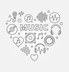 Music heart shape outline vector