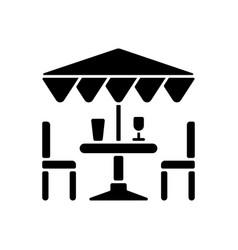 Patio furniture and accessories black glyph icon vector