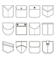 pocket thin line black icon set vector image