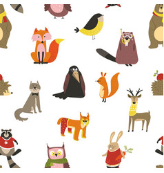 raccoon and wolf fox and owl bird wearing scarf vector image