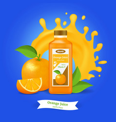 realistic detailed 3d orange juice ads vector image