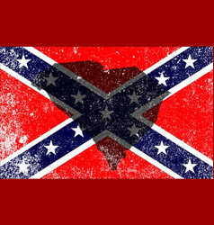 rebel civil war flag with south carolina map vector image