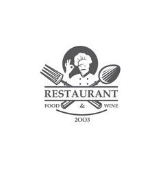 restaurant label with chef crossed spoon and fork vector image