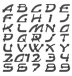 retro font alphabet vector image