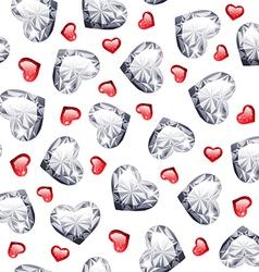 ruand diamond gem hearts seamless pattern vector image