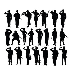 saluting soldier and army force silhouettes vector image