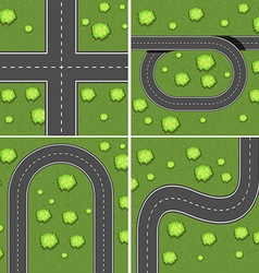 Scenes with roads on the grass land vector