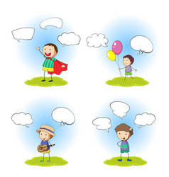set of boy with speech bubble vector image