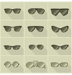 Set of glasses in vintage style vector