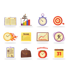 set of productivity time management colored icons vector image