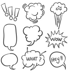 set of text balloon style doodles vector image
