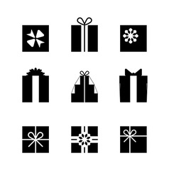 Silhouettes of gift boxes isolated vector image