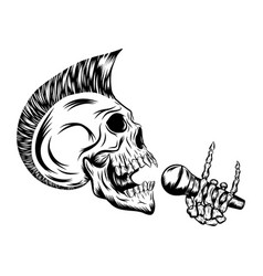 Skull punk singing and holding microphone vector