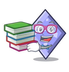Student with book rhombus mascot cartoon style vector