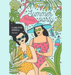 summer party invitation template with happy women vector image