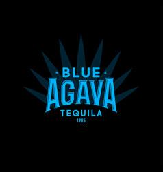 tequila emblem blue agave label logo vintage vector image
