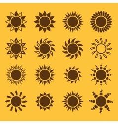 The sun set of 16 icon Sunrise and sunshine vector