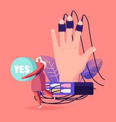 Tiny female character holding word yes in hands vector