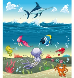 under sea with fish and other animals vector image