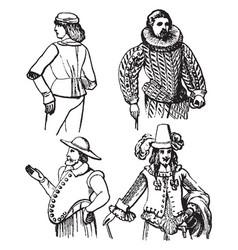 Varying eras vintage engraving vector