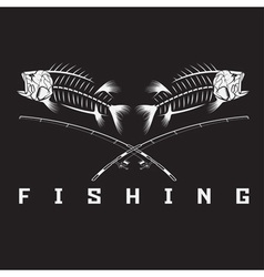 vintage fishing emblem with skeleton of bass vector image vector image