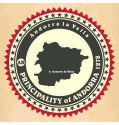 Vintage label-sticker cards of Principality of And vector
