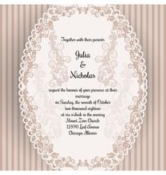 Wedding card with oval elegan design vector image