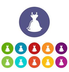 wedding dress icons set color vector image