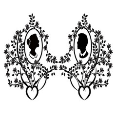 wedding silhouette flourishes 8 vector image