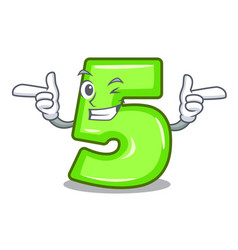 Wink cartoon house number five on wall vector