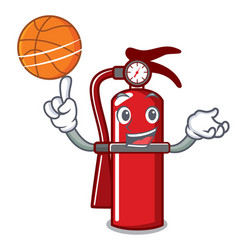 With basketball fire extinguisher character vector