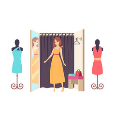 Woman shopping in clothes store ladies shop vector