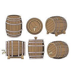 Wooden barrel set vector